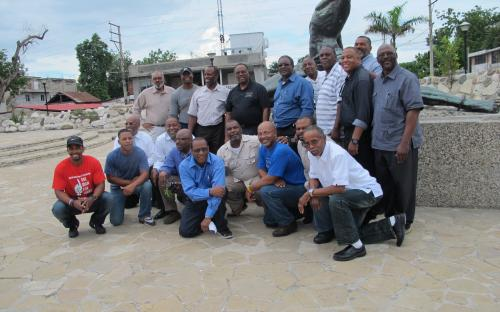 "Team photo at the Haiti Neg Maron Statue -  ""escape from slavery"""