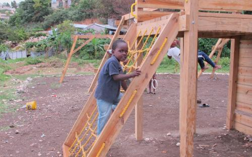 Recently built playground in Lambi Village